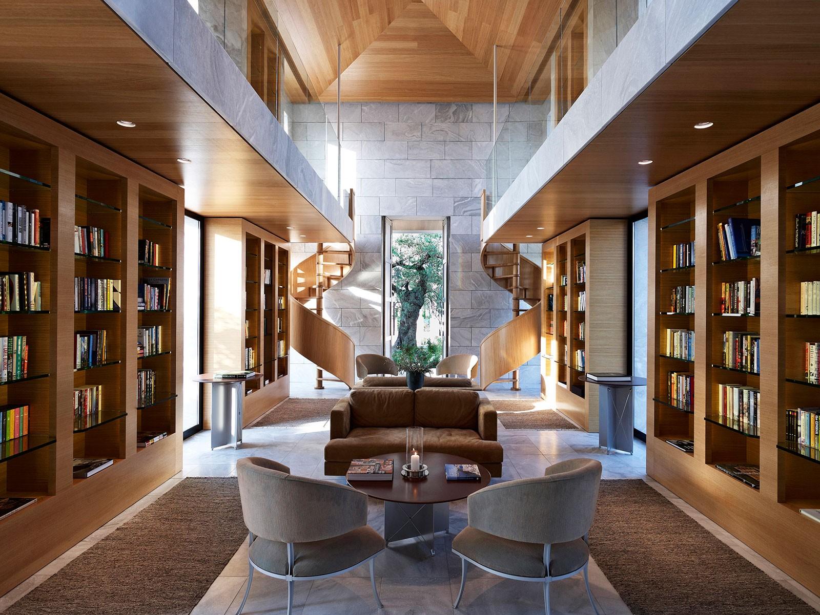 希腊安缦索伊酒店amanzoe 度假村 现代风格 原木色 棕色  图书馆图片